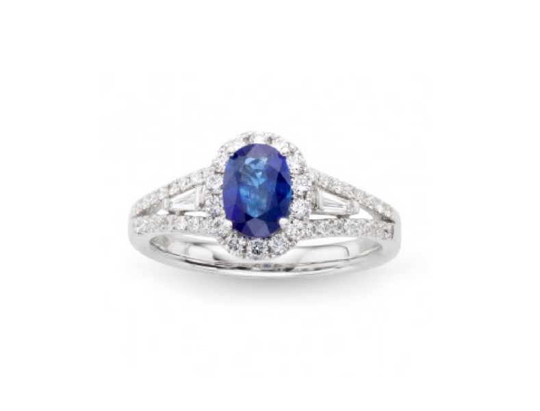 Oval Sapphire Diamond Engagement Ring