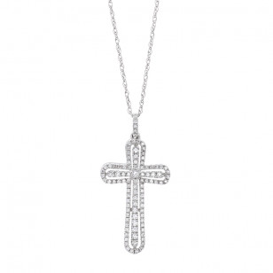 diamond cross necklace LMFJ